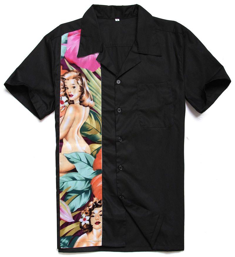Mens Casual Retro Bowling Shirts Floral Nude Print Panel Plus Größe Hemd Bluse