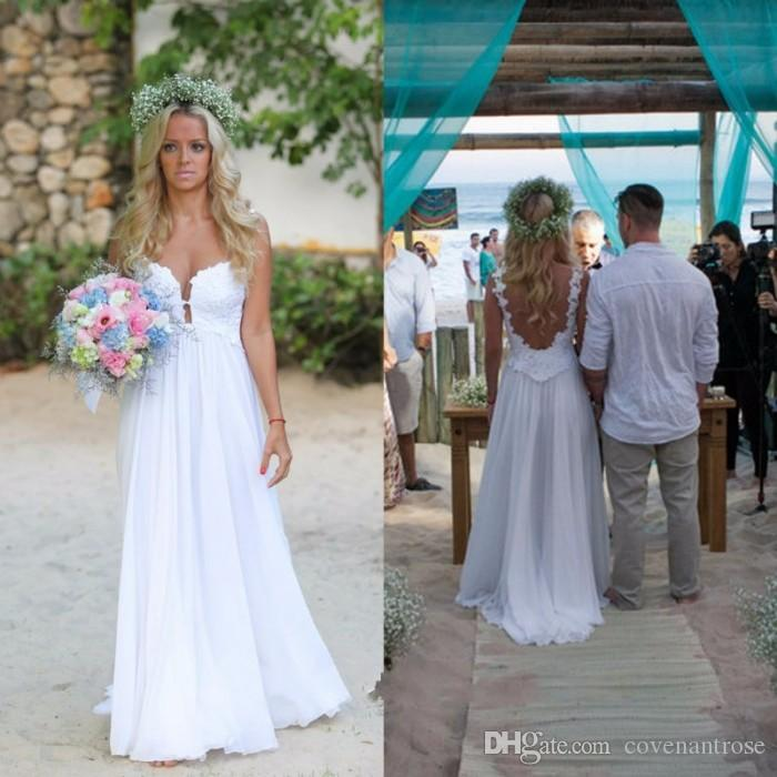 Sexy Simple Style Wedding Dress Backless Chiffon Sweetheart Beach Summer Reception Dress for Bride Cheap Sweep Train Bridal Gowns