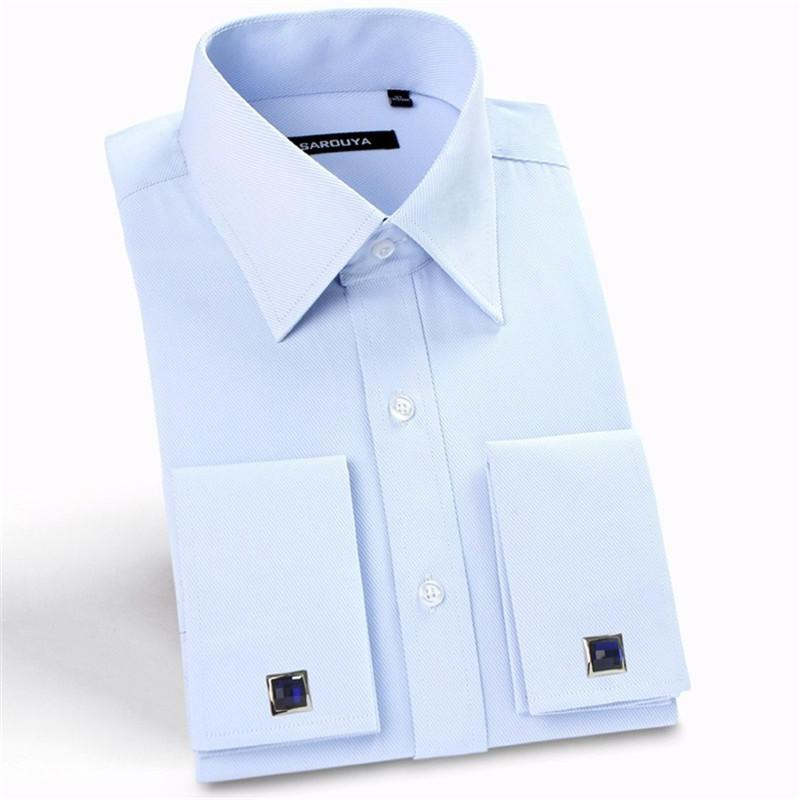 Wholesale- 2017 Men's France cuff button dress shirts solid turn down collar long sleeve banquet men fit Formal Shirt (Cufflinks Included)