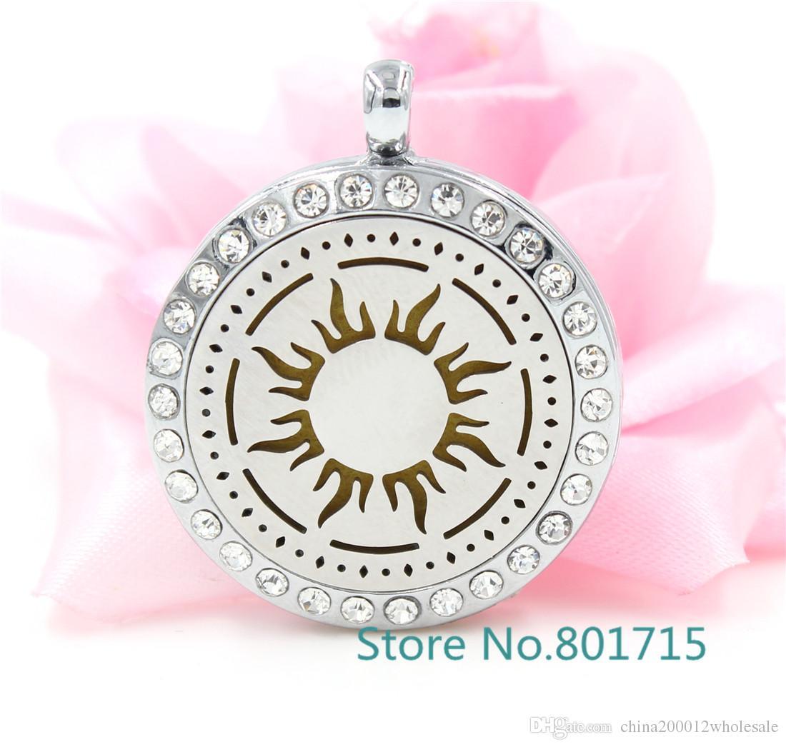 Yuvarlak Gümüş Çiçek (30mm) Aromaterapi / Uçucu Yağlar Paslanmaz Çelik Yüz Parfüm Difüzör Madalyon ile Alaşım çerçeve XX012