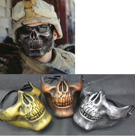 Plastic Horror Skull Jaw Mask Terror Mezza faccia Shied Scheletro umano Warrior Ghost Mask per Halloween Party