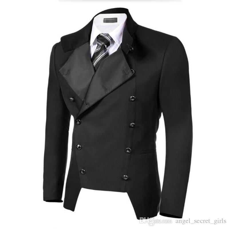 Bkack homens ternos casaco de lapela breasted double formal ternos de negócios jaqueta custom made noivo smoking de casamento jaqueta