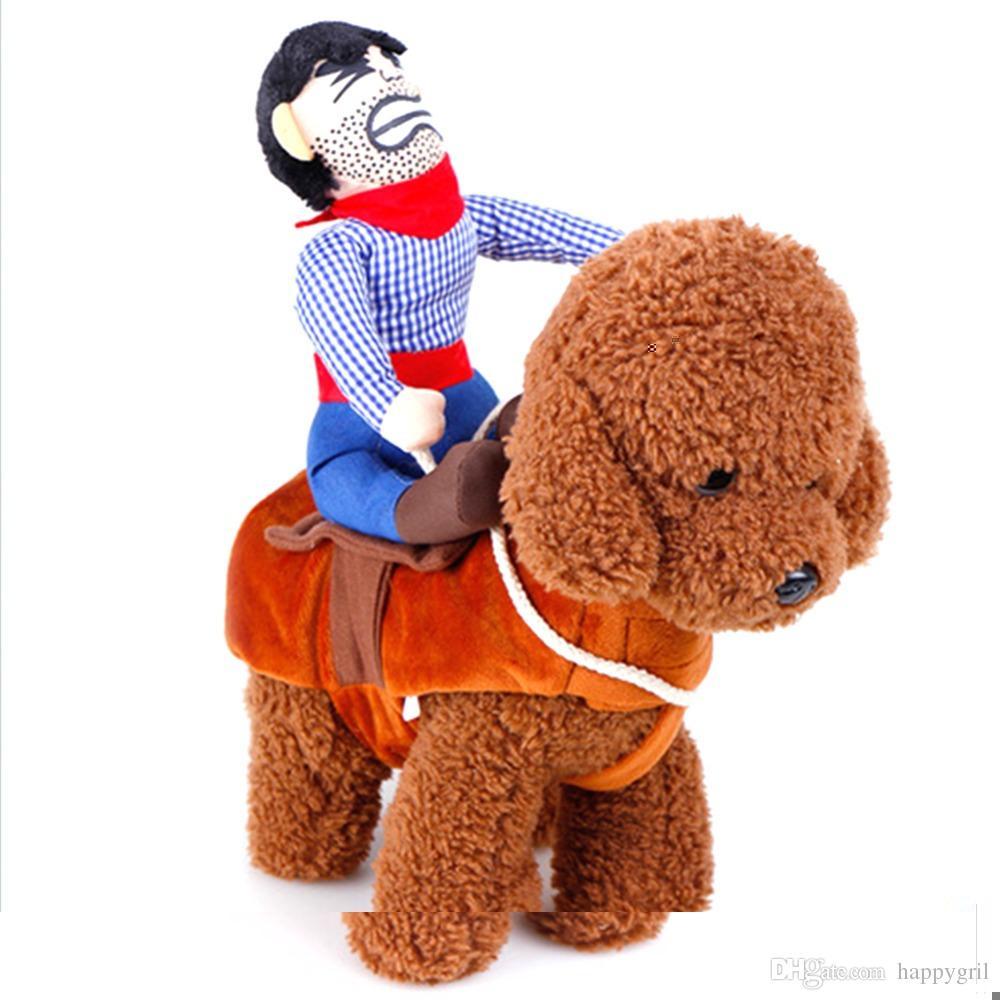 Montar a caballo perro traje de vaquero con sombrero para perro pequeño perro grande mascota gato divertido golden retriever fiesta de disfraces de Halloween ropa