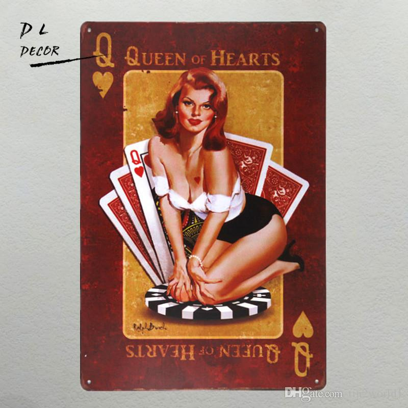 DL-Queen of hearts Metal Sign vintage Home Decor pin up poster garage wall art rat rod stickers