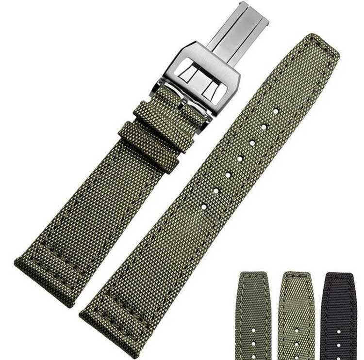 20 21 22 millimetri cinturino in acciaio inox Fibbia Nero Verde nylon con cinturino in pelle fascia inferiore orologio per piloti Portogallo