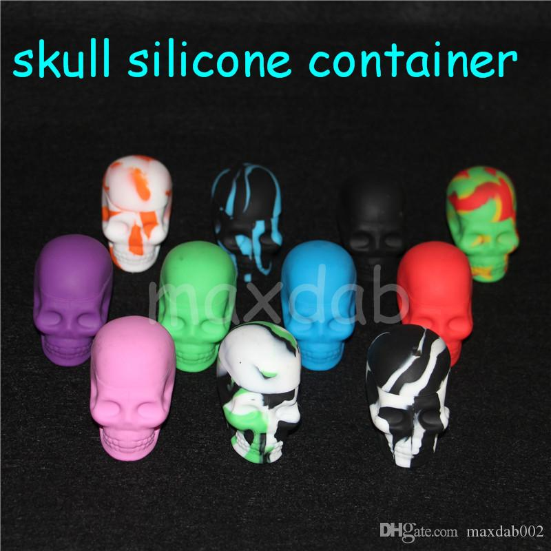 wholesale Silicone Skull Jar oil or wax Container 15ml Non-stick Silicone Dab Container 30pcs lot free dhl