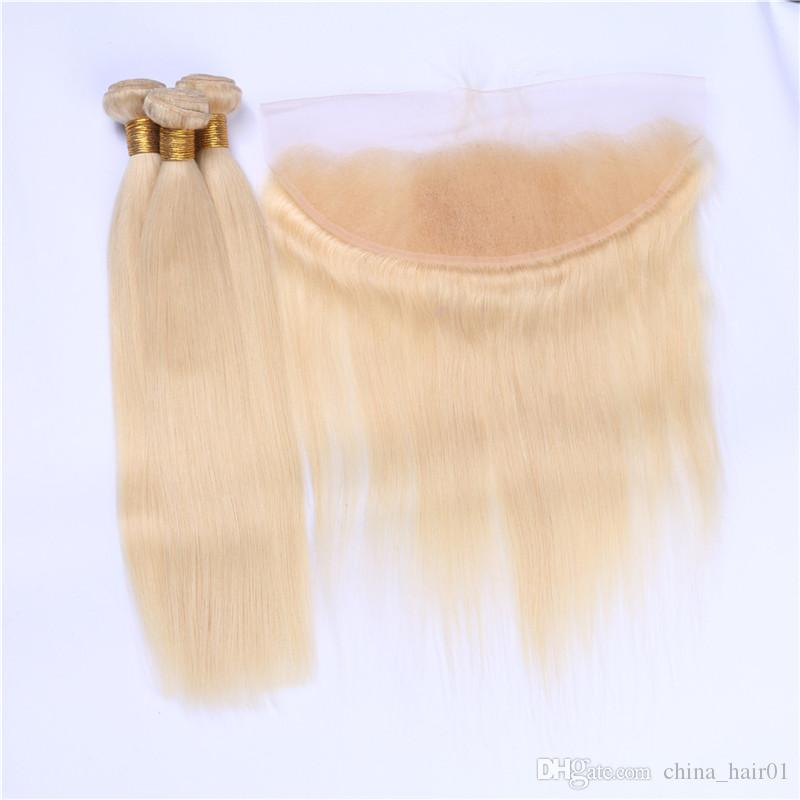 #613 Russian Blonde Human Hair 3Bundles With Frontal 4Pcs Lot Silky Straight Bleach Blonde 13x4 Full Lace Frontal Closure With Weaves
