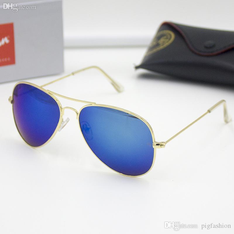الجملة الكلاسيكية العلامة التجارية الشمسية الرجال النساء أزياء الطيران نظارات الشمس مع مربع