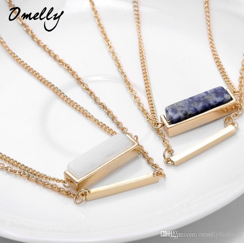 Wholesale Stylish Fashion Ks Inspired Jewelry Necklace Double Layers Gp Gemstone Pendant Chains Charm Wholesale In Bulk Gold Necklace Heart Necklace From Omellyfashion 1 9 Dhgate Com