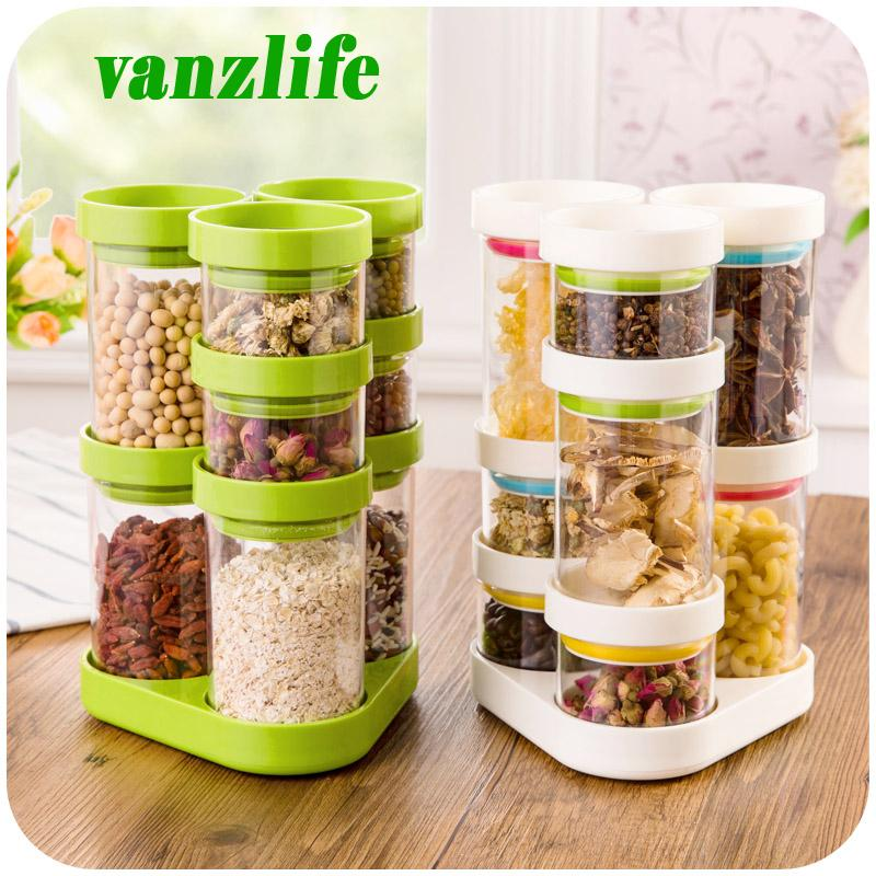 2019 Wholesale A Vanzlife Kitchen Storage Container Rotating Plastic Candy  Tank Creative Dry Cereals Storage Bottles Grain Storage Jar From Galry, ...