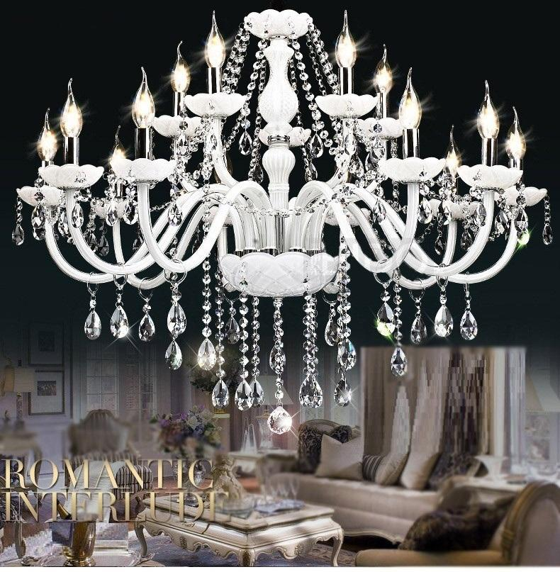 White Modern chandelier crystal lamps light Large 6/8/10/15/18 Lights Arm Luxury