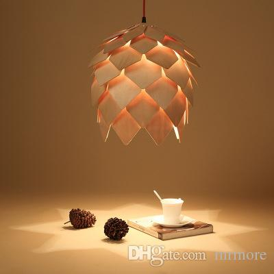 Pine cone Pendant Lamp Modern Creative Wood Pendant Light Wooden Pendant lighting European style Restaurant bar lamps 110V 220V