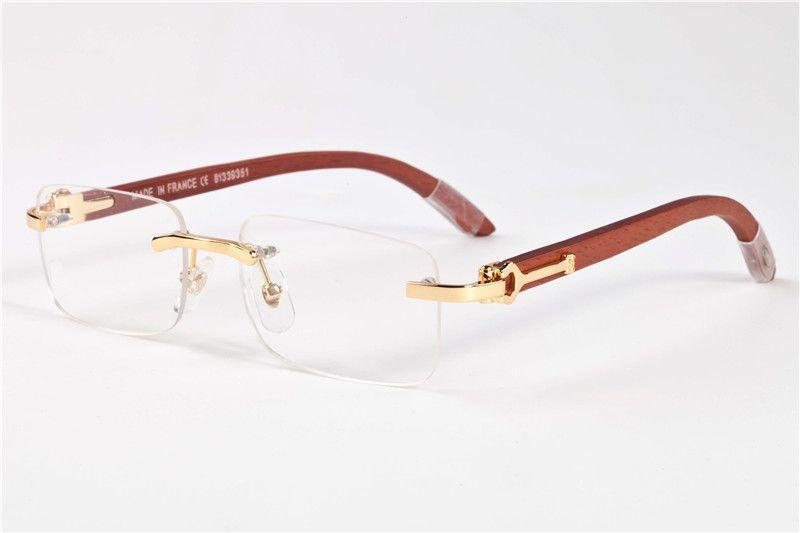 2020 Erkekler Çerçevesiz gözlükler Ahşap Buffalo Horn Gözlük Moda Fransa Mens Optik Güneş Kadınlar Altın Ağaç Gözlük Gözlük Çerçeveleri