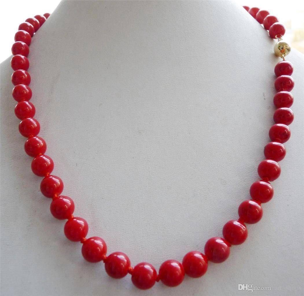 "FFREE VERSCHIFFEN ** 14 Karat FESTE Gold VERSCHLUSS 10mm Roten Meer Korallen Edelsteine Runde Perlenkette 18 """