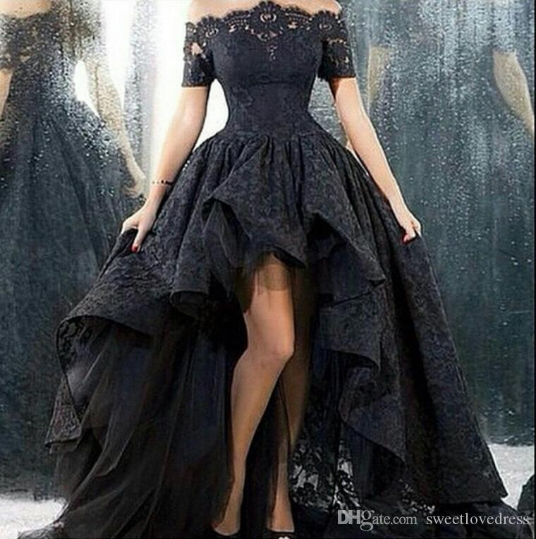 2019 noir dentelle haut bas robes de bal hors de l'épaule manches courtes une ligne corset expédition rapide occasion spéciale robes de soirée modeste