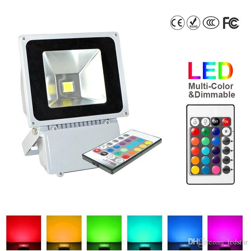 100W RGB Color Changing LED Flood Light Outdoor  Lights With Remote Control