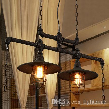 Pendant lights creative water pipes chandelier lamps personalized American European industrial vintage chandeliers cloth store cafe club bar