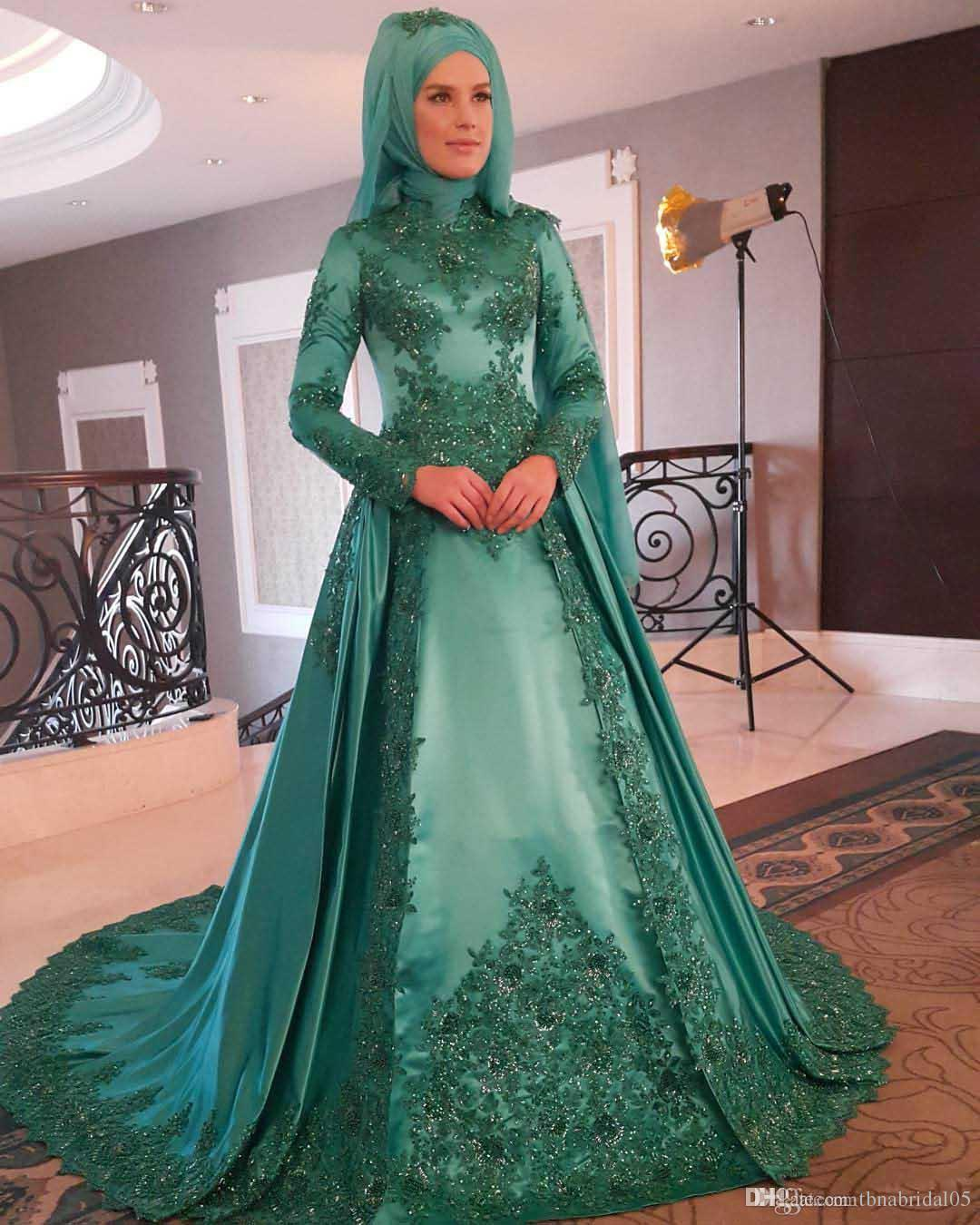 Vestido De Festa High Neck Muslim Evening Dresses Lace Appliques Beaded Prom Dress With Long Sleeves Hijab Evening Formal Gown