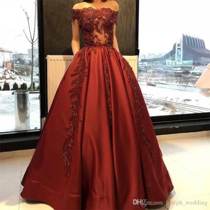 2017 Modest Boat Neck Red Satin Evening Dresses Off the Shouder Bride Banquet Gowns Women's Prom Dress Party Gown