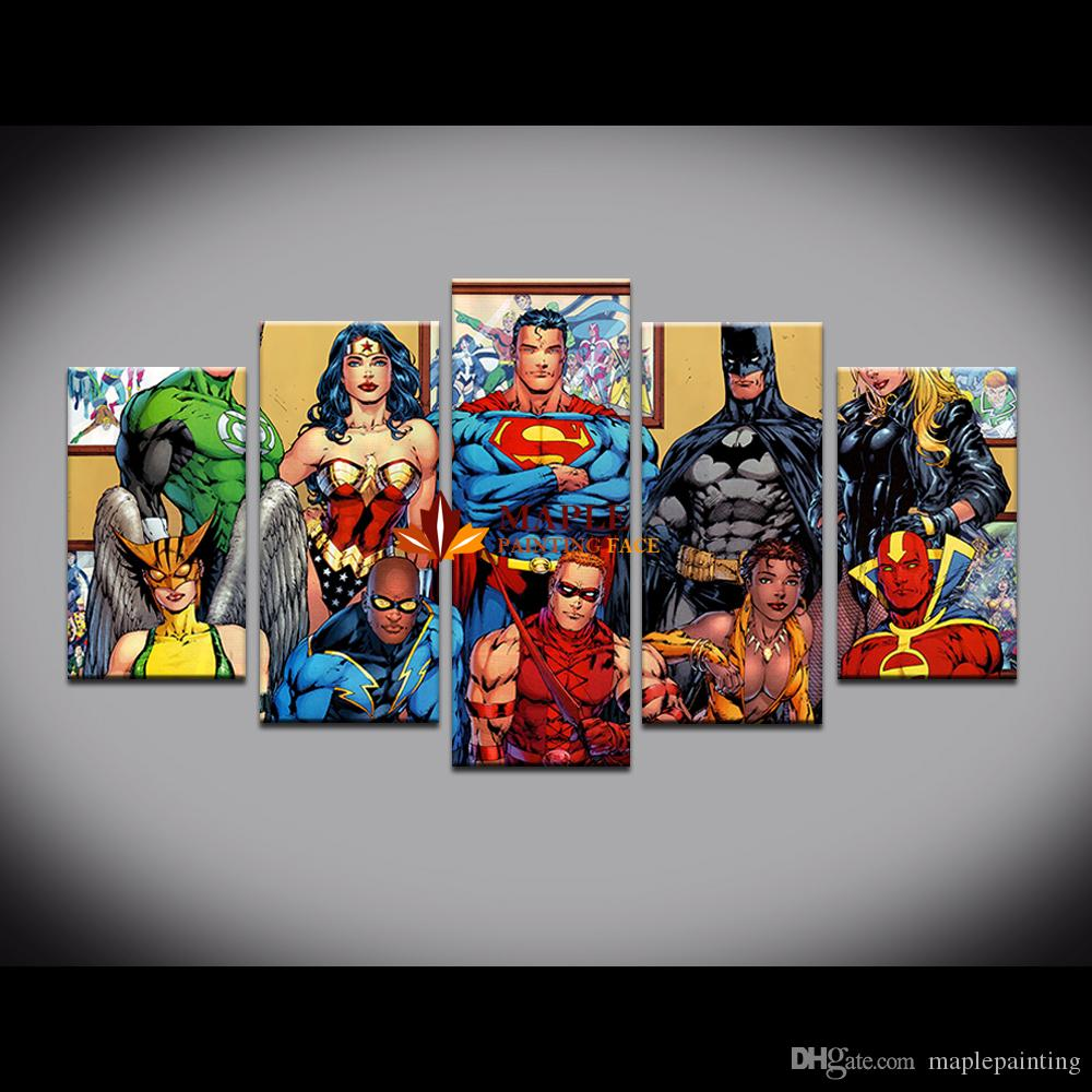 Oil Painting HD Print Wall Decor Art On Canvas Justice League 5pc With Stretched