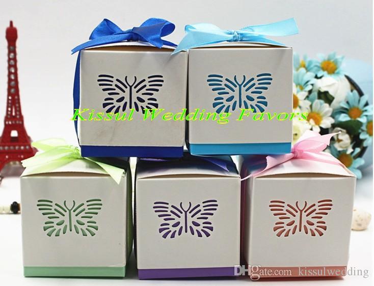 (100 pezzi / lotto) Farfalla Laser cut box box per la decorazione della festa del compleanno Decorazione regalo e baby shower box box