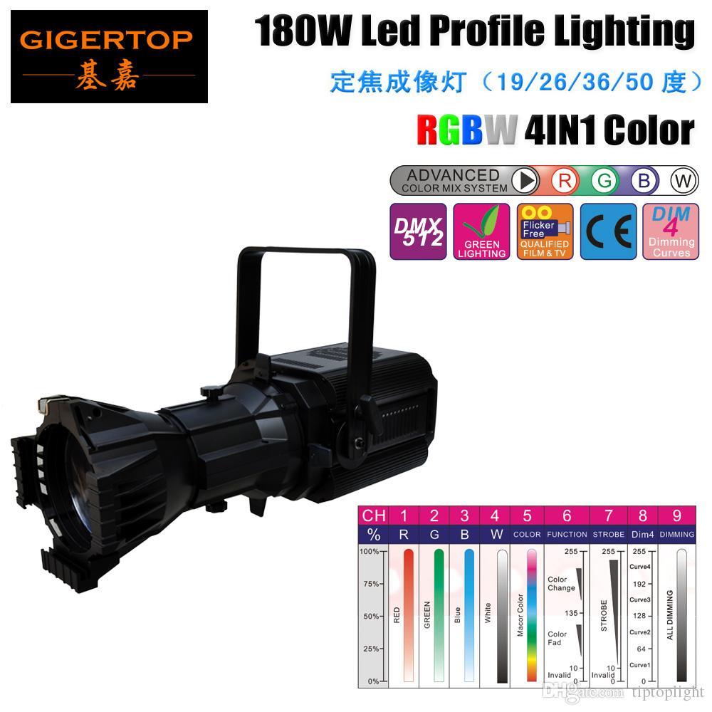 TIPTOP 180W RGBW 4IN1 DMX LED الشخصي بقعة ضوء COB المصدر قنوات DMX 9 مسارح تطبيق التجارية اجتماع فيديو التلفزيون TP-011