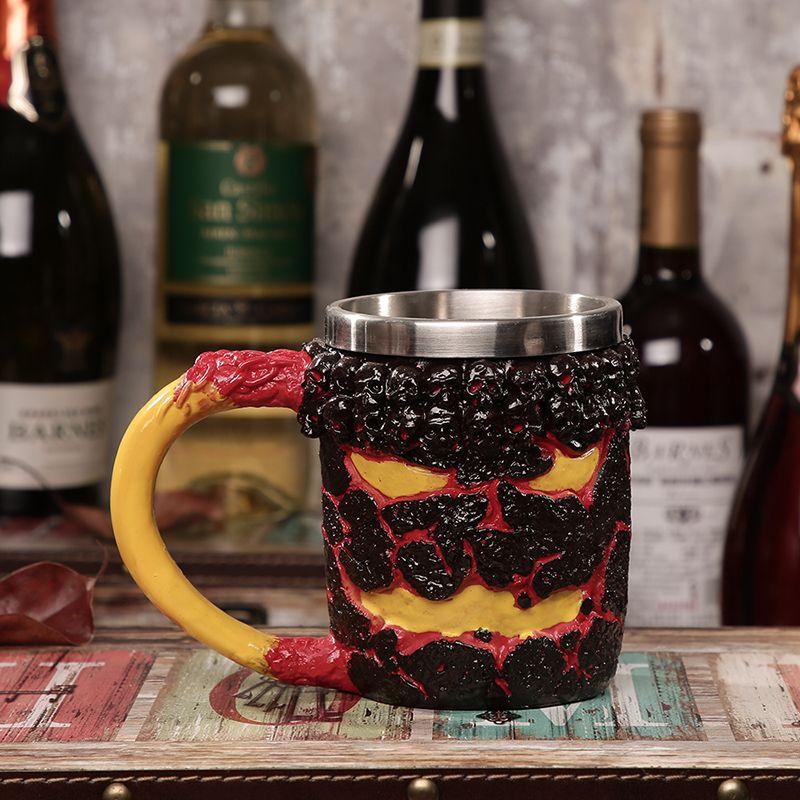 Красивый череп кружка двойной стены кофейная чашка творческий нержавеющей стали рыцарь кружка Дракон пить чай Кубок Рождественский подарок