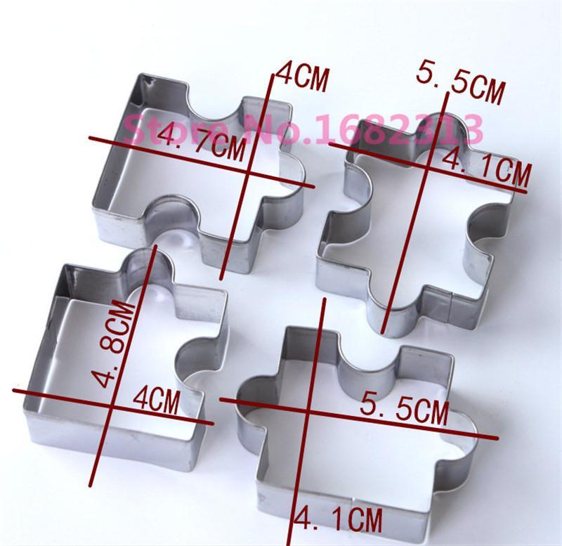 Atacado- 4 Pcs Puzzle Forma Aço Inoxidável Set Cortador De Biscoito DIY Biscoito Molde Cozinha Ferramentas Sobremesa Bakeware ma
