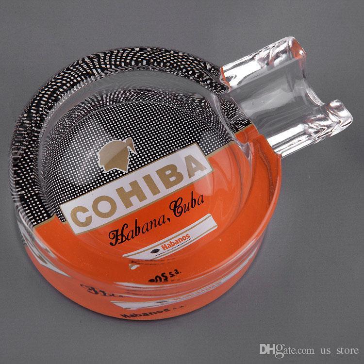 COHIBA Klassische Gadgets Portable Transparent Muster Kristall Zigarre Aschenbecher