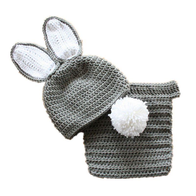 Adorável Easter Bunny Recém-nascidos Outfits, Feito À Mão de Malha Crochet Baby Boy Menina Cinza Coelho Animal Chapéu e Fralda Capa Set, Foto Infantil Prop