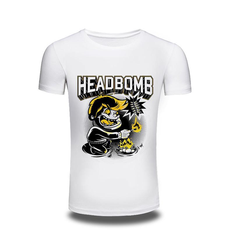 2017 homens clothing 3d t camisa dos homens cabeça bomba impressa t-shirt engraçado dos homens camisetas hipster o-pescoço legal tops frete grátis