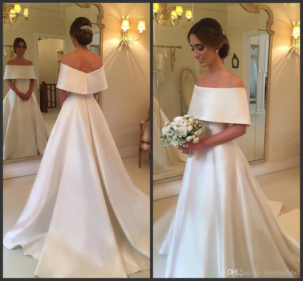2017 simple bateau une ligne robe de mariée en satin à manches courtes dos fermeture éclair élégante vintage robes de mariée