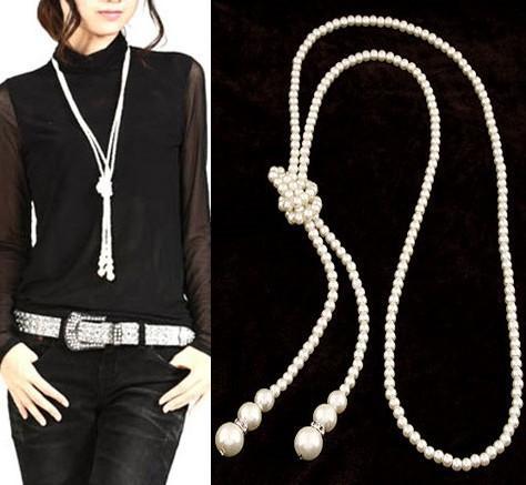 Perla de imitación de alta calidad simple temperamento simple collar súper largo Europea y América perla grande sola cadena de suéter de doble capa 9114