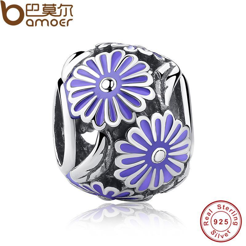 Pandora Otantik Çiçek 925 Ayar Gümüş Lavanta Emaye Papatya Çayır Çiçek Charm Fit Orijinal Bilezik Takı PAS097