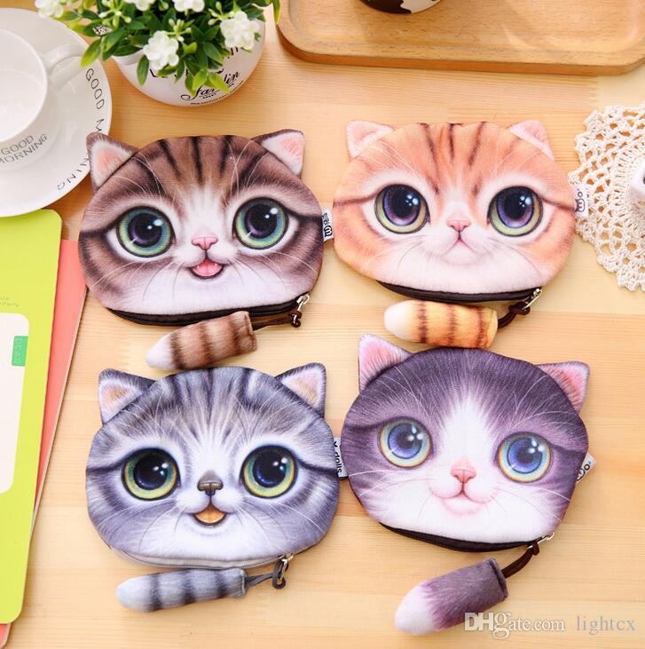 최신 작은 귀여운 동물 만화 3D 고양이 개 얼굴 가방 코인 변경 지갑 케이스 지갑 변경 포켓 숙녀 기술 변경 지갑