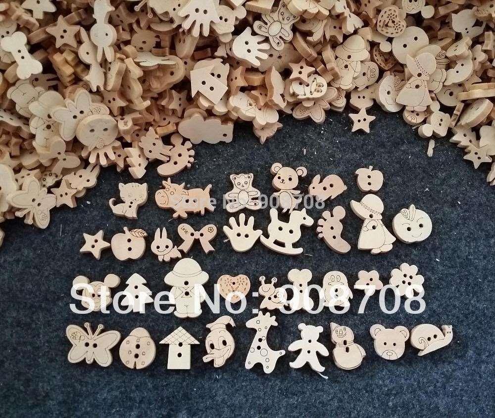 الحرة الشحن W0125 مختلطة الكرتون نمط اللون الطبيعي أزرار خشبية اليدوية التبعي 200Pcs / lot