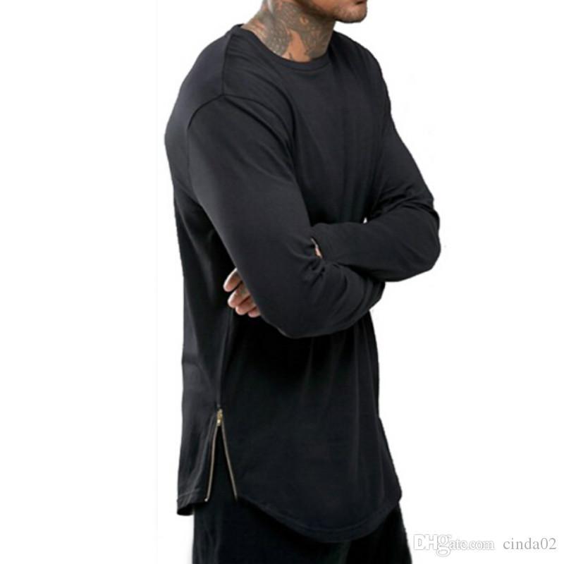 Новые тенденции мужчины футболки супер ярус с длинным рукавом футболки хип-хоп дуги Подол с кривой подол стороне Zip топы tee