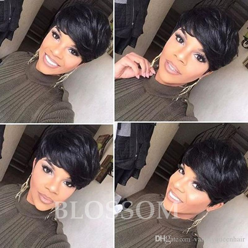 100 Human Hair Bob Glueless None Lace Wigs Brazilian Front Human Short Hair  Wigs Cheap Wigs For Black Women Americans Sleek Wigs Dread Wigs From