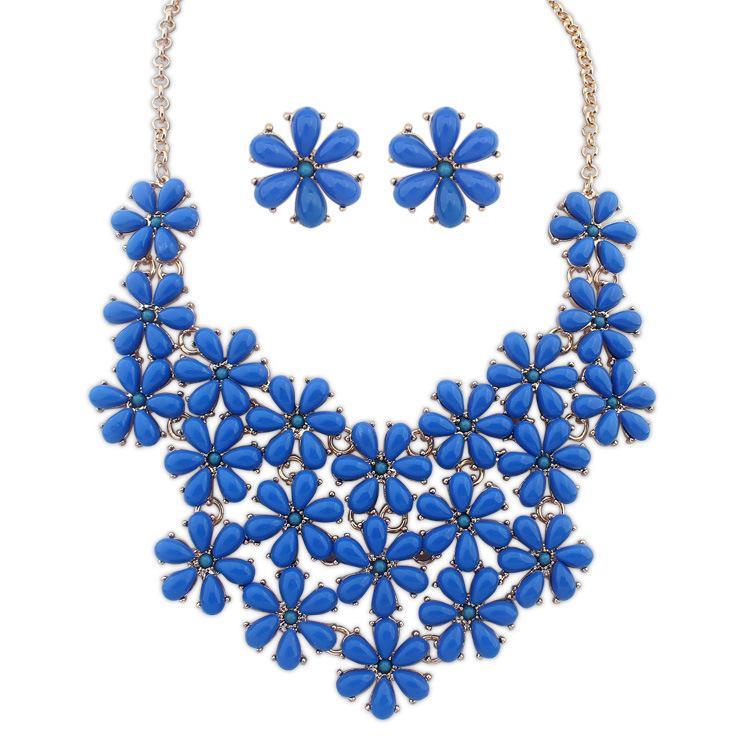 Conjuntos de joyería fina 2016 nueva aleación de collar colgante pendiente de aleación femenina por mayor de flores frescas decoraciones multicolores