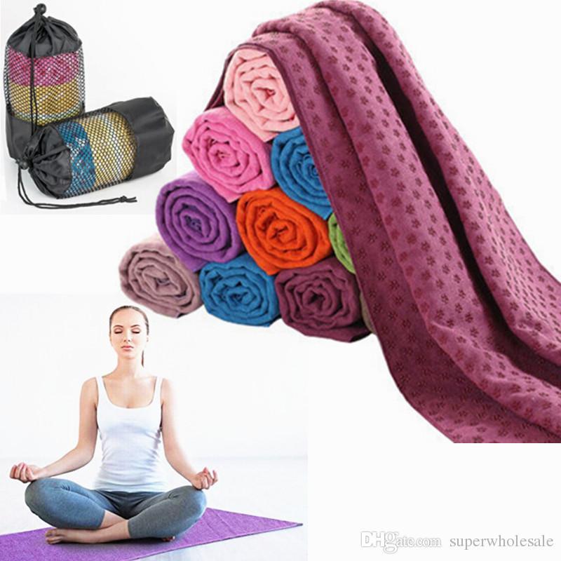 """Serviette de matelas de yoga en microfibre Serviette de yoga anti-glisse avec sac de transport en tissu Serviette de gymnastique très absorbante en microfibre 72x24 """""""