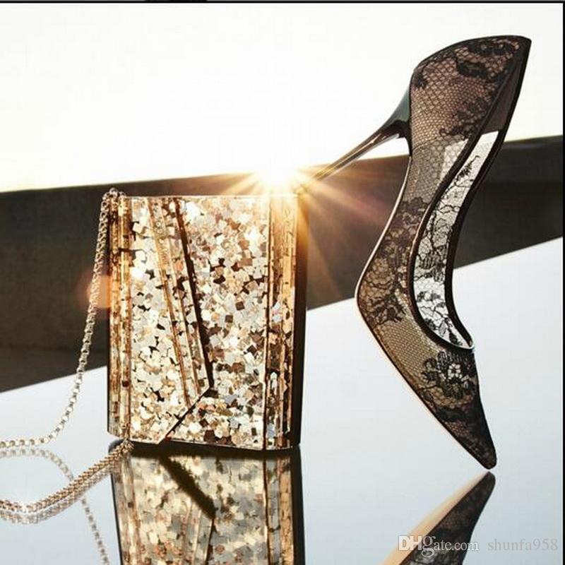 مصمم أزياء المبيعات الساخنة JC العلامة التجارية أحذية عالية الكعب النساء اللباس الأسود الرباط أشار تو مضخات أحذية الزفاف حجم 34-42