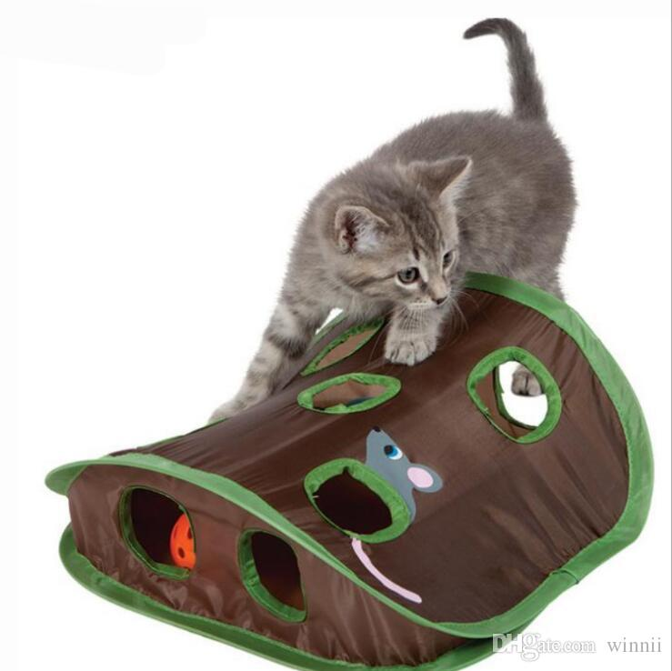 Collapsible Interlligence Nine Holes Mouse Hunt Ball Cat Toys Environmental Polyester Interactive Mouse Hunt Cat toys mice