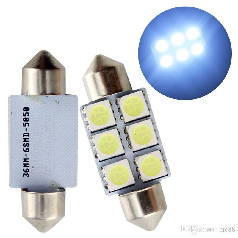 50 pçs / lote Led luz Festoon C5W 6SMD 6 leds 5050 31 MM 36 MM 39 MM 41 MM automotivo carro placa de luz