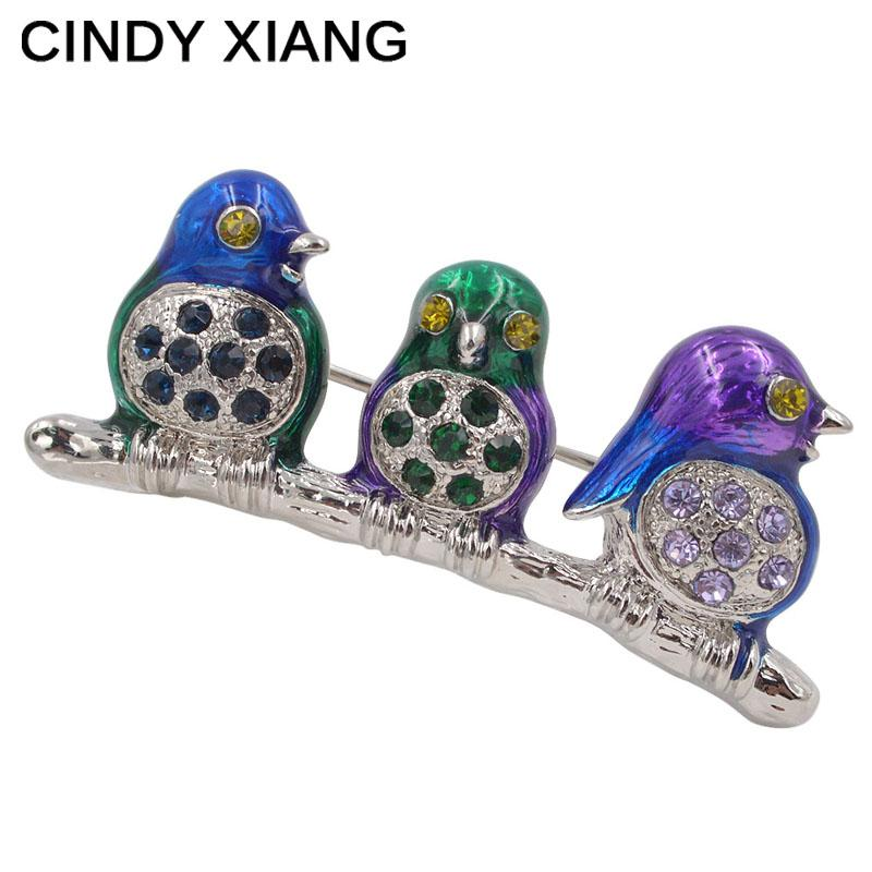 CINDY XIANG 3 Cute Enamel Birds Brooches Unisex Animal Brooch Pin Colorful Broches Dress Coat Accessories Badges Backpack Gift