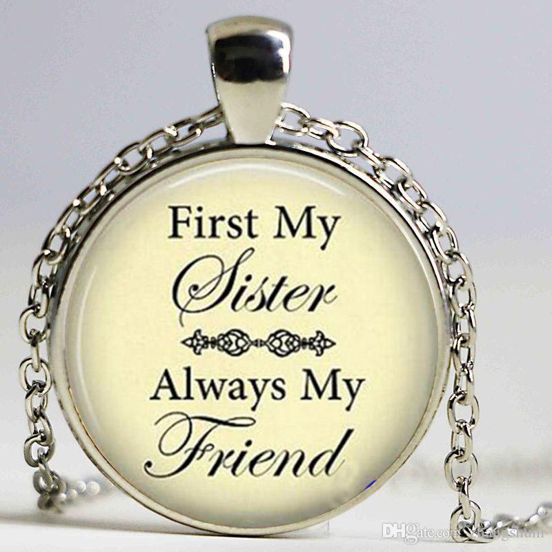 """Colar de pingente """"Primeiro minha irmã sempre meu amigo"""" - irmã aniversário colar - presente de aniversário irmã - presente de amor fraternal"""