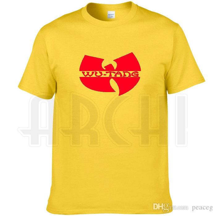 Wu tang clan T shirt Hip hop band printing short sleeve Yellow Rap Wutang tees Music cool clothing Unisex cotton Tshirt