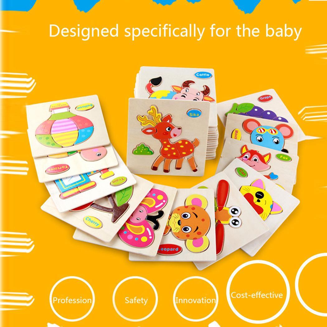 Transporte de Animais Frutas Multi-dimensional 3D Jigsaw Bloco De Madeira ChildrenToy para Crianças Brinquedos Educativos Montessori