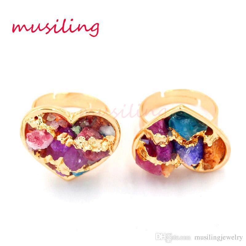 Anelli di cristallo Geometrica Gemma naturale Anello di pietra Amanti regolabili Gioielli Mix di colori Accessori di cristallo di quarzo Gioielli di fascini di moda