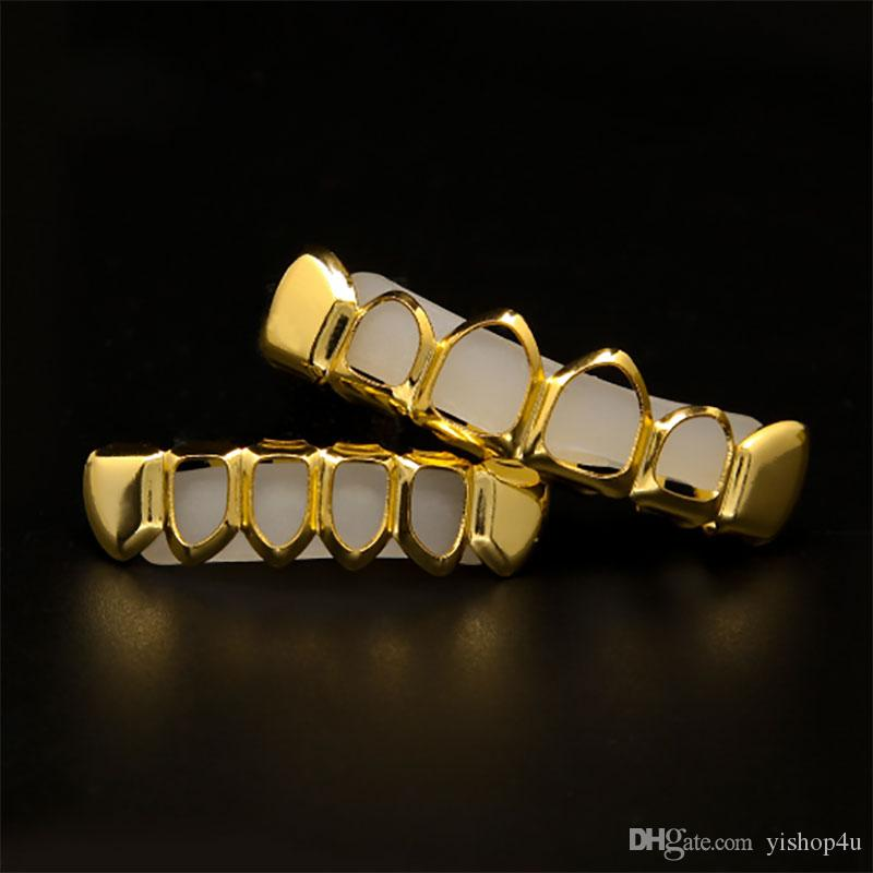 New Style 18k Real gold plated Rhinestone Iced Out Hip Hop GANGSTER Bling Gold Teeth Grillz Top Bottom Grills Set Silicone Vampire Teeth