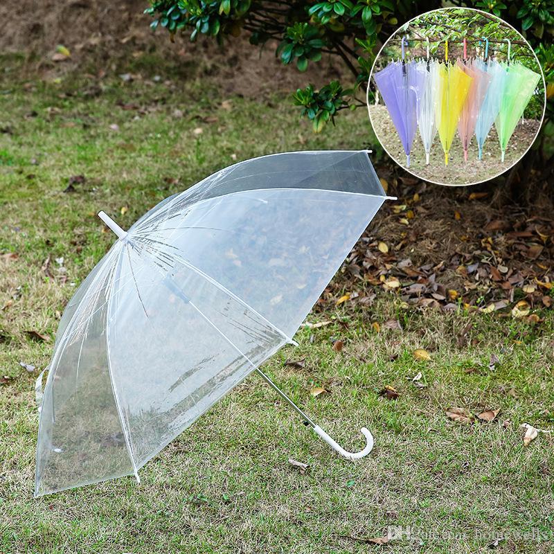 100PCS Transparent Umbrellas Clear PVC Umbrellas Long Handle Umbrella Rainproof Sun Umbrellas Beach Wedding Colorful Umbrella 6 Colors